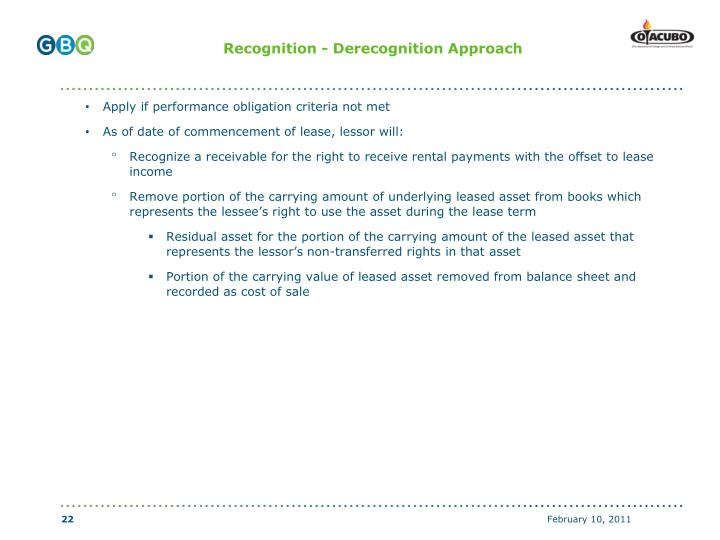 Recognition - Derecognition Approach