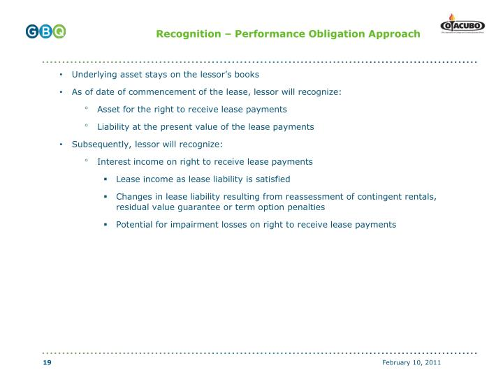 Recognition – Performance Obligation Approach