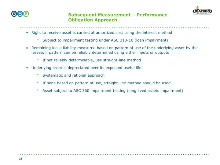 Subsequent Measurement – Performance