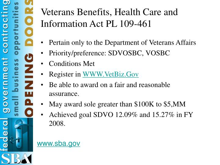 Veterans Benefits, Health Care and Information Act PL 109-461