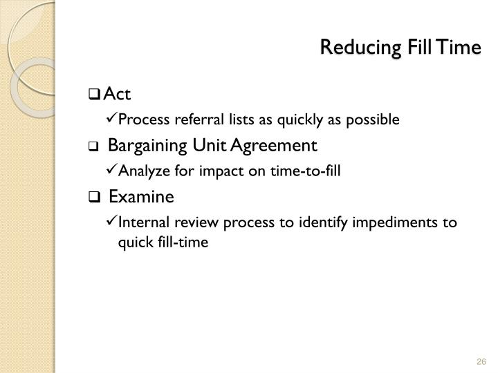 Reducing Fill Time