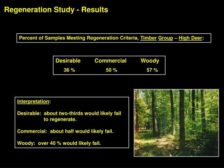 Regeneration Study - Results