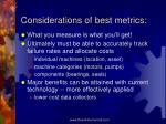 considerations of best metrics