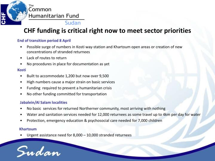 CHF funding is critical right now to meet sector priorities