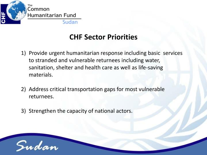CHF Sector Priorities