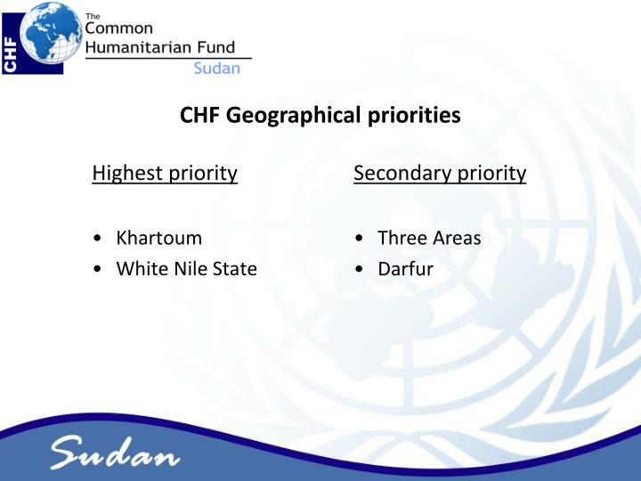 CHF Geographical priorities