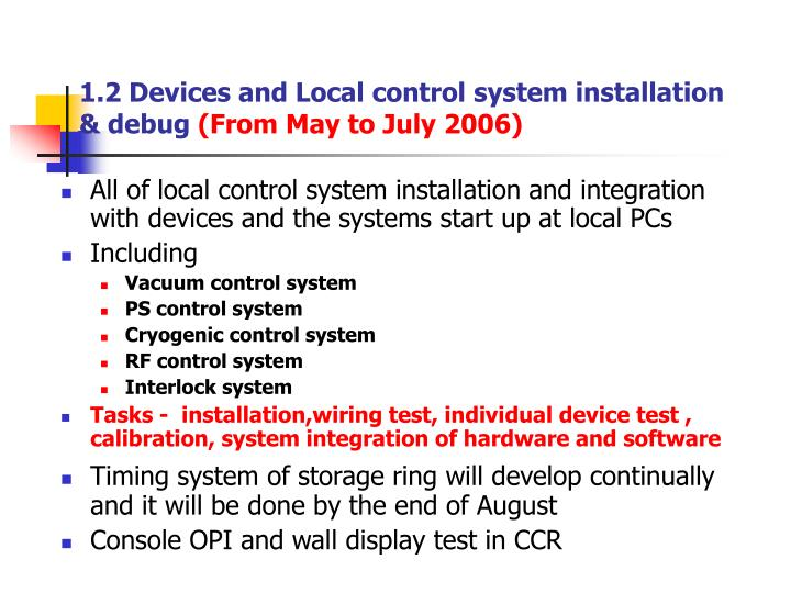 1.2 Devices and Local control system installation & debug