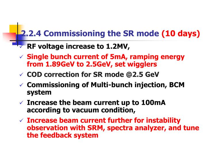 2.2.4 Commissioning the SR mode