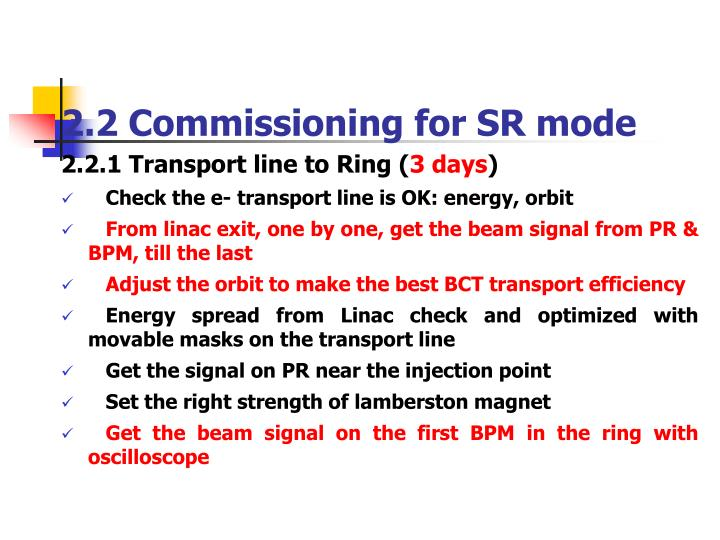 2.2 Commissioning for SR mode