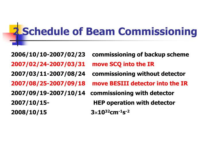 2 Schedule of Beam Commissioning