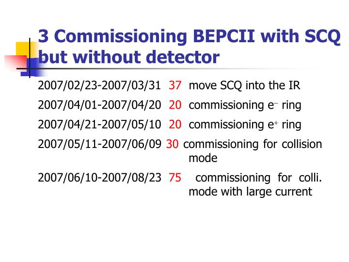 3 Commissioning BEPCII with SCQ but without detector