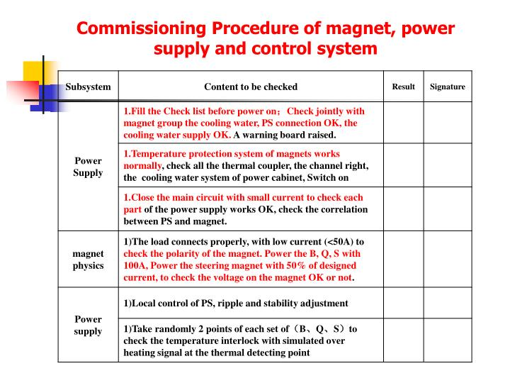 Commissioning Procedure of magnet, power supply and control system