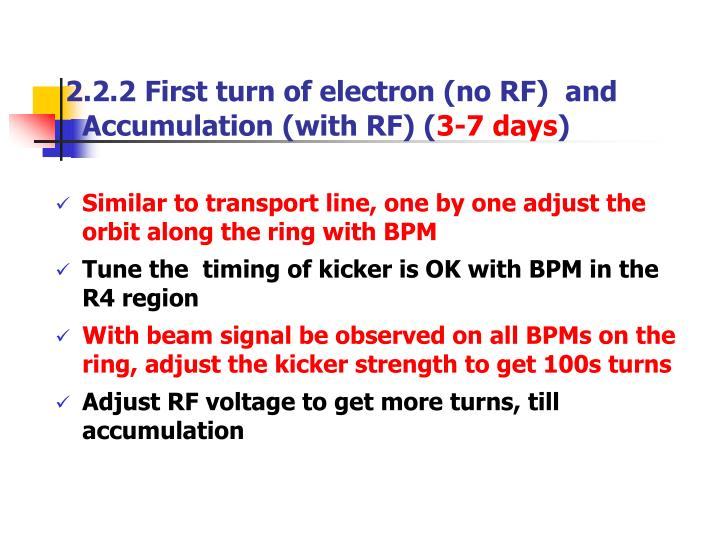 2.2.2 First turn of electron (no RF)  and Accumulation (with RF) (