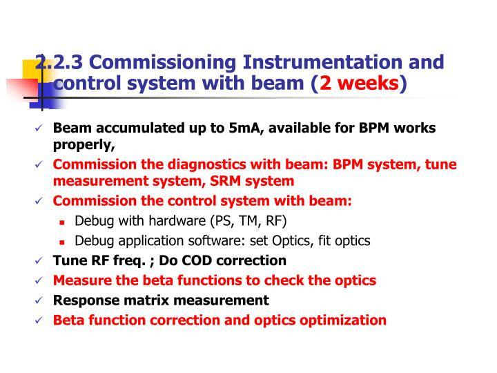 2.2.3 Commissioning Instrumentation and control system with beam (