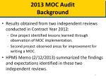 2013 moc audit background
