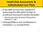 health risk assessments individualized care plans