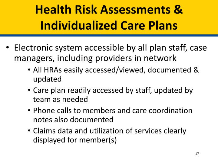 Health Risk Assessments & Individualized Care Plans