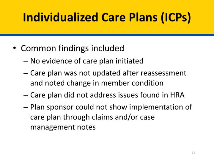 Individualized Care Plans (ICPs)