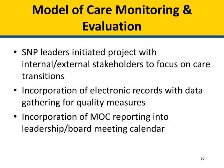 Model of Care Monitoring & Evaluation