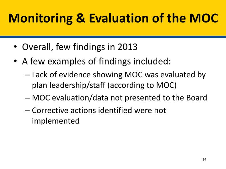 Monitoring & Evaluation of the MOC