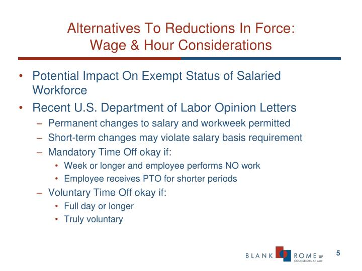 Alternatives To Reductions In Force: