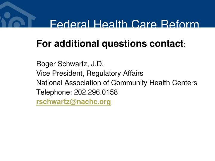 Federal Health Care Reform