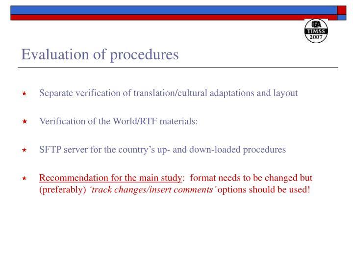 Evaluation of procedures
