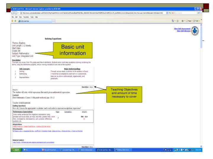 Basic unit information