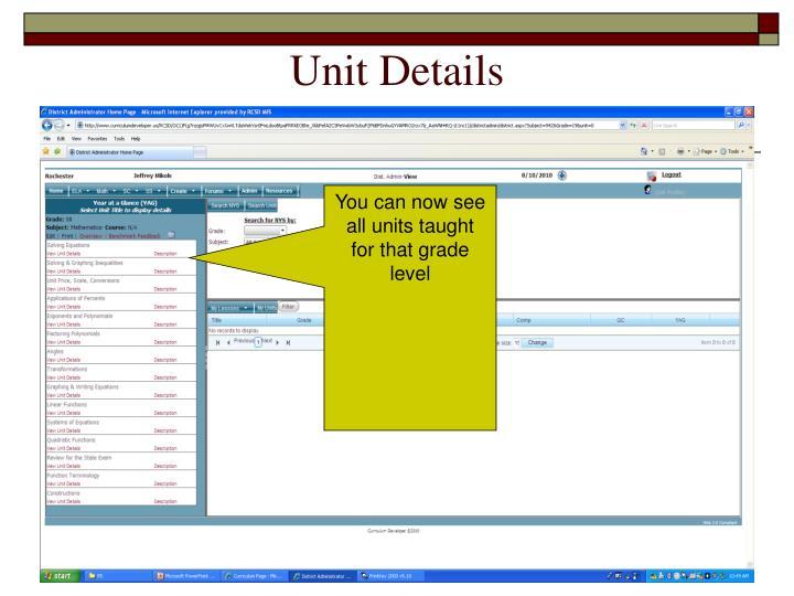 Unit Details