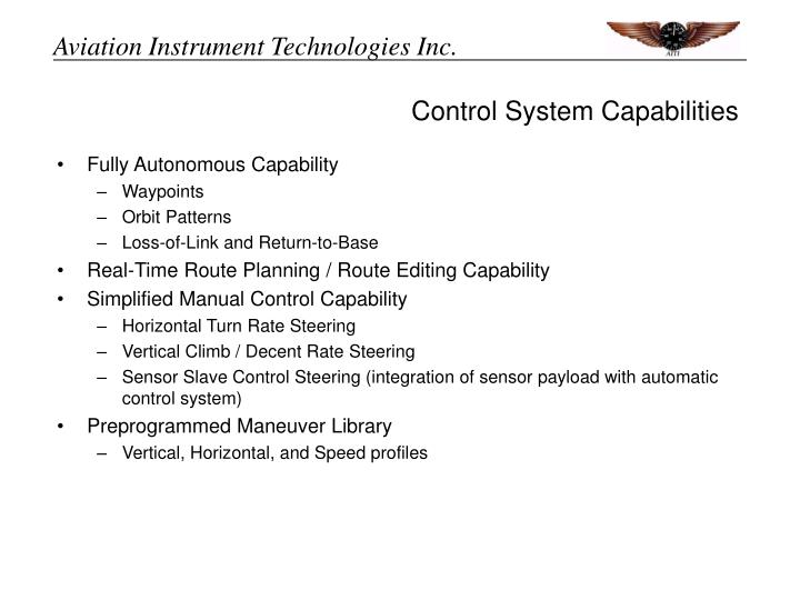 Control System Capabilities