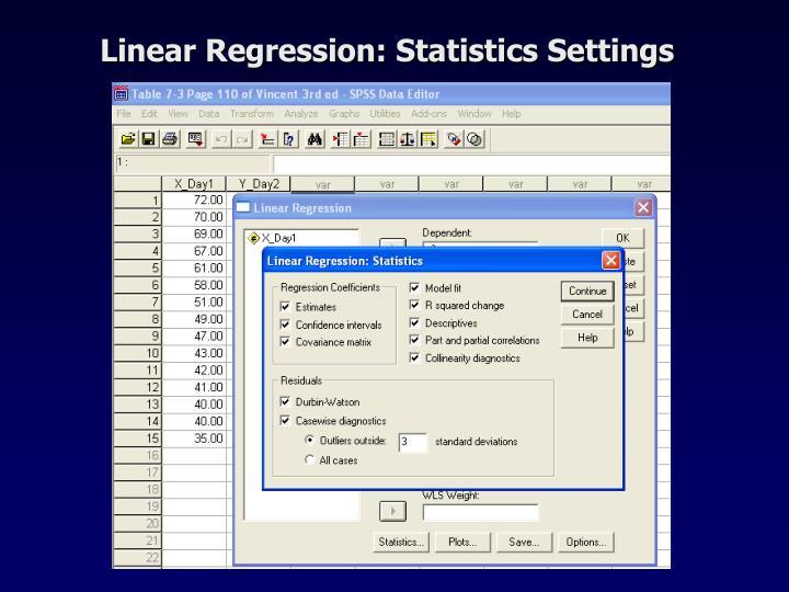 Linear Regression: Statistics Settings