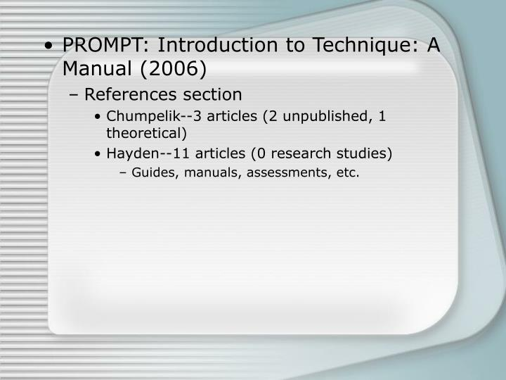 PROMPT: Introduction to Technique: A Manual (2006)