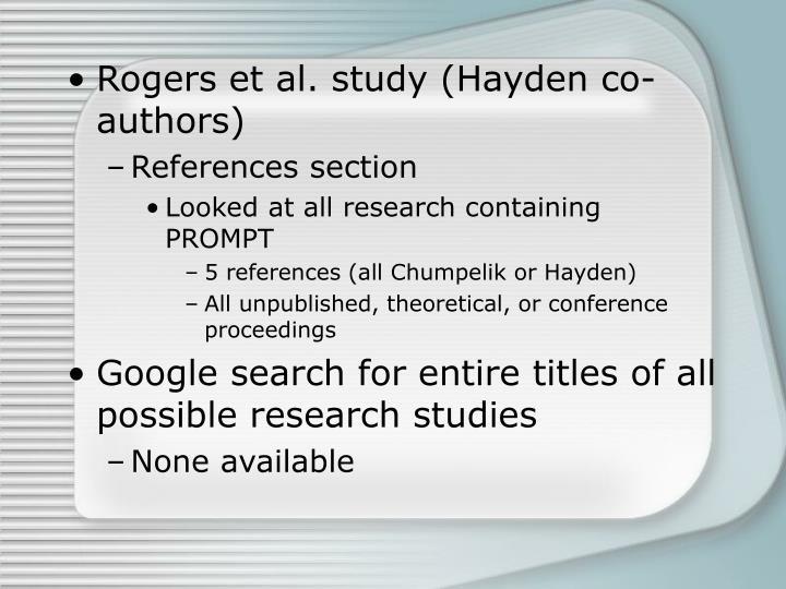 Rogers et al. study (Hayden co-authors)