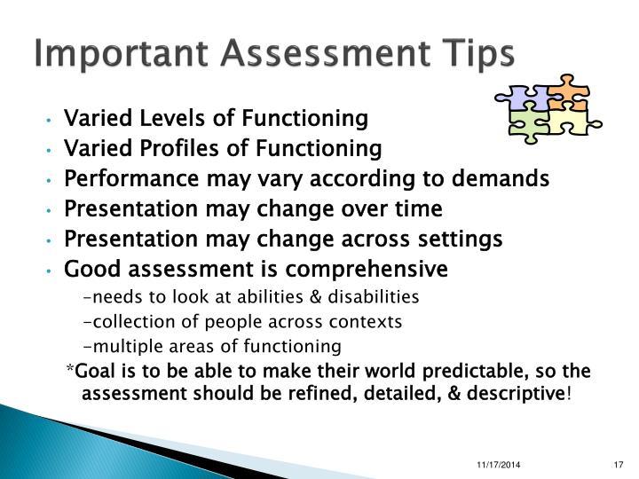 Important Assessment Tips
