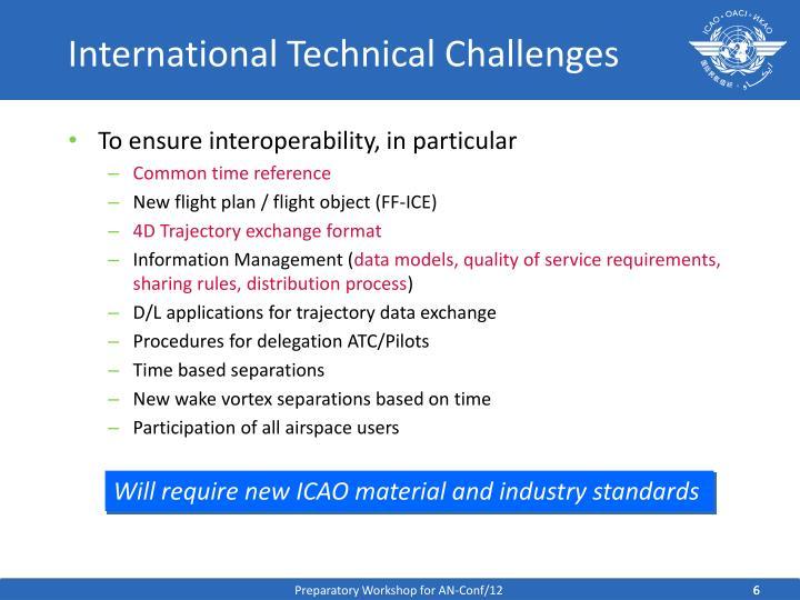International Technical Challenges
