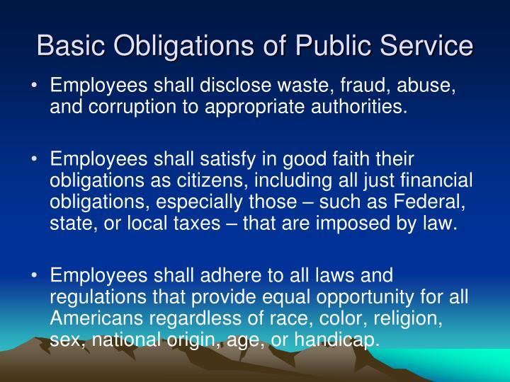 Basic Obligations of Public Service