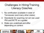 challenges in hiring training literacy coaches