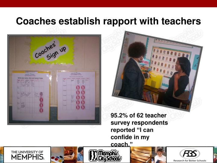 Coaches establish rapport with teachers
