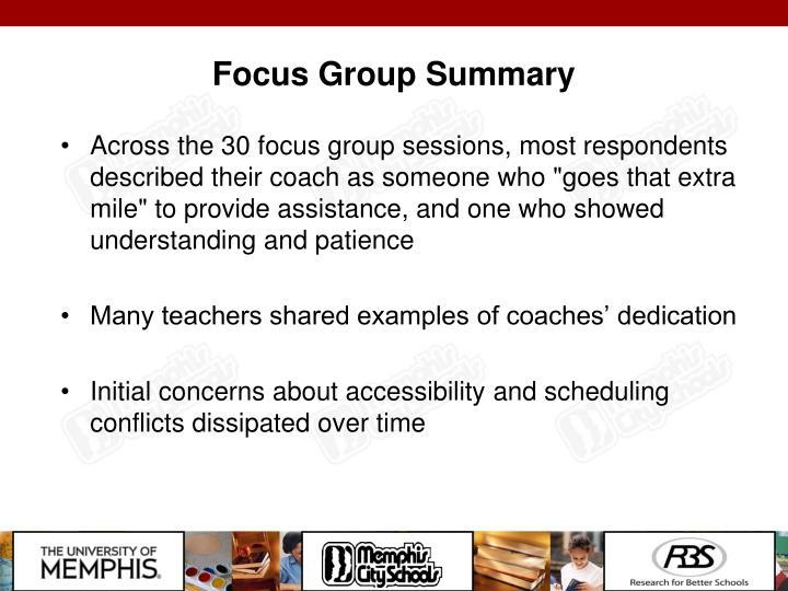 Focus Group Summary