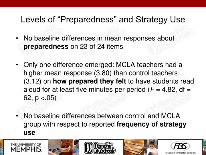 """Levels of """"Preparedness"""" and Strategy Use"""