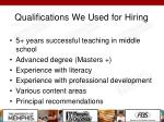 qualifications we used for hiring