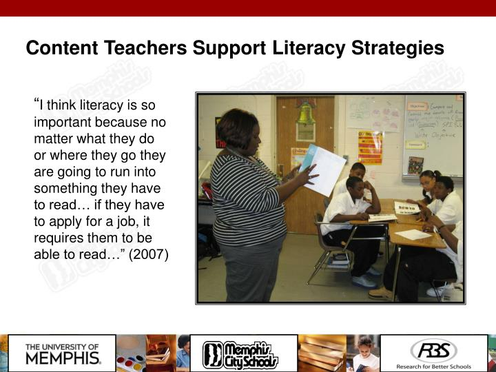 Content Teachers Support Literacy Strategies