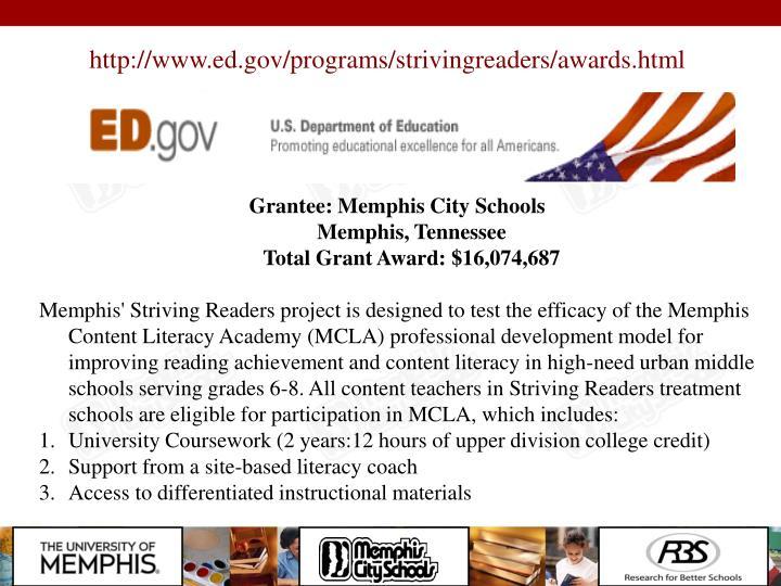 http://www.ed.gov/programs/strivingreaders/awards.html