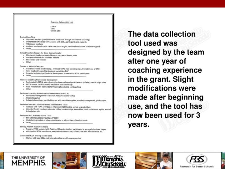 The data collection tool used was designed by the team after one year of coaching experience in the grant. Slight modifications were made after beginning use, and the tool has now been used for 3 years.