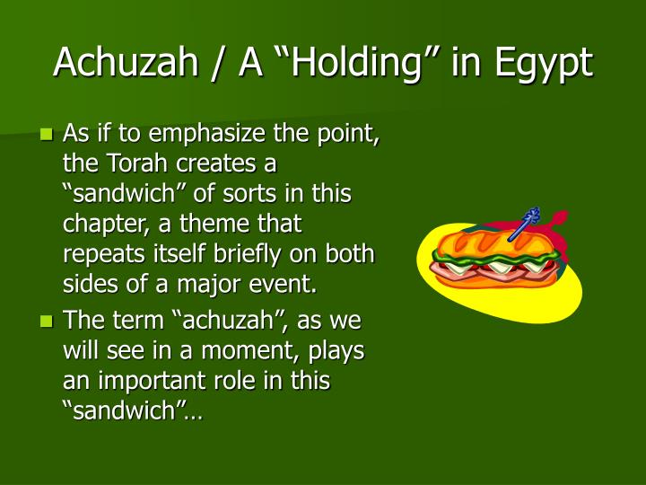 "Achuzah / A ""Holding"" in Egypt"