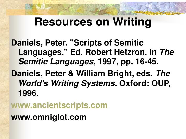 Resources on Writing
