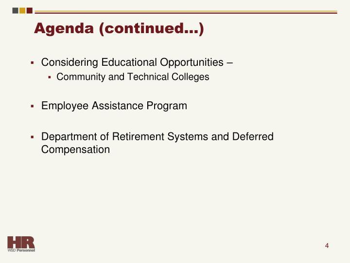 Agenda (continued…)