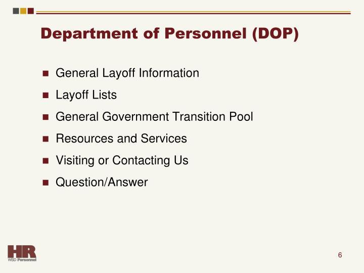 Department of Personnel (DOP)