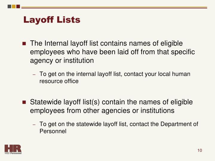 Layoff Lists