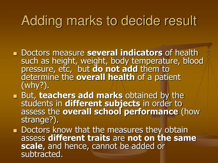 Adding marks to decide result